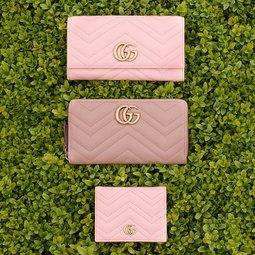 구찌 마몽 2 0 컬렉션 쉐브론 디자인 및 마틀라세 가죽 지갑
