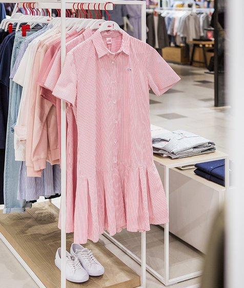 스트라이프 셔츠형 원피스