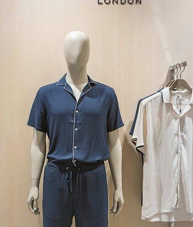 파이핑 포인트 파마자 스타일 셔츠