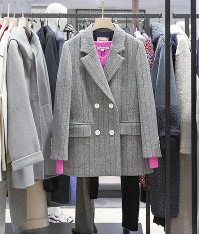그레이 울 헤링본 더블 브레스트 재킷 (BF9X11C013)