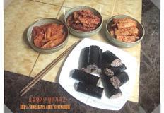 밥새우김밥과 어묵, 돼지고기, 단무지무침 (충무김밥 퓨전스타일)