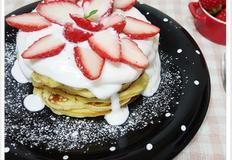딸기 핫케이크 팬케이크 만들기,생크림만드는법