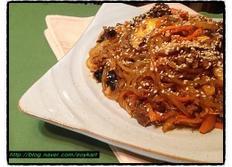 추운 날씨에는 맛있게 매운 잡채~ 초간단 고추장 소고기 버섯 잡채 만들기