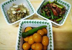 밑반찬 3종 세트 (멸치볶음/ 마늘쫑새우볶음/ 메추리알 장조림)