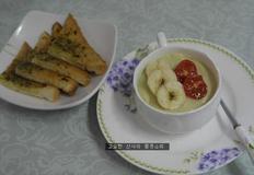 겨울밤 간식, 식빵 마늘빵과 고구마라테
