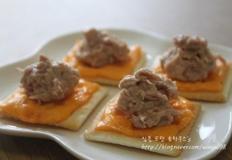 참치 크래커 카나페 # 아이비 비스켓 맛있게 먹기