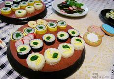 해남 세발나물로 만든 세 가지 롤 김밥
