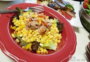 옥수수캔 하나로 샐러드와 또띠아 만들기