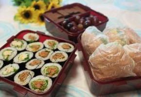꼬마샐러드김밥 & 매콤참치김치김밥 & 샐러드김밥 & 게살샐러드 모닝빵 샌드위치