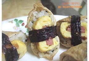 햄달걀말이 유부초밥