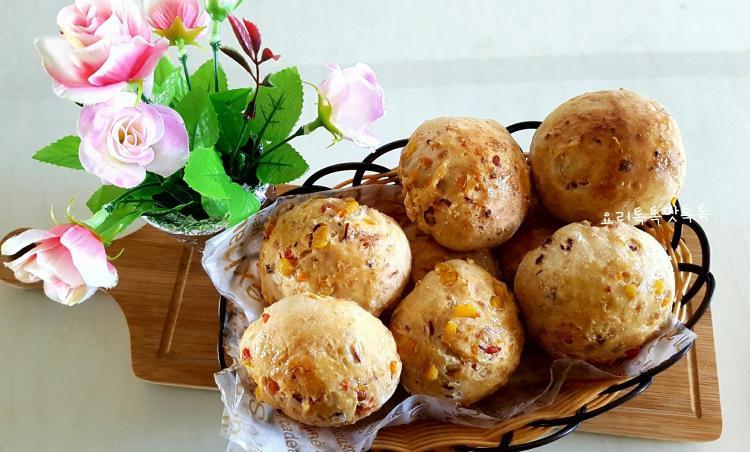 건강빵 만들기 오디야채모닝빵