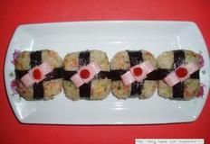 네모 치즈주먹밥 선물/리본 주먹밥