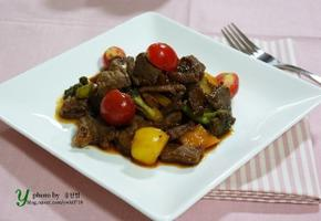 파프리카 토마토 모듬 쇠고기 찹스테이크 만들기