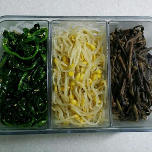 [추석음식] 삼색나물, 시금치?콩나물?고사리나물