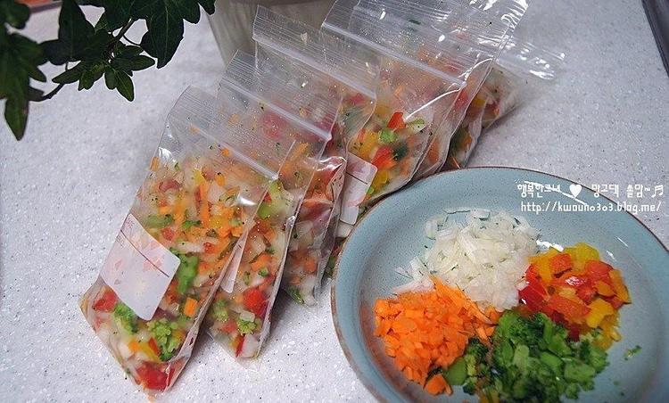 다진야채/다진채소 소분법...냉동보관 해두면 사용하기 편해요~☆