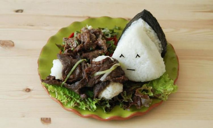 깻잎 참치 삼각김밥 & 소고기 쌈밥