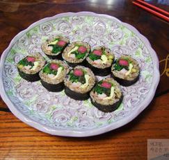 비트무와 나물로 만든 김밥 만들기