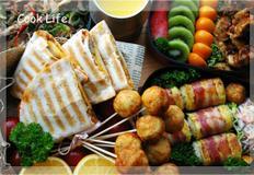도시락 (베이컨 계란말이 밥, 버섯 잡채, 감자, 닭가슴살 추파춥스, 만두 깐풍기, 고구마 또띠아)