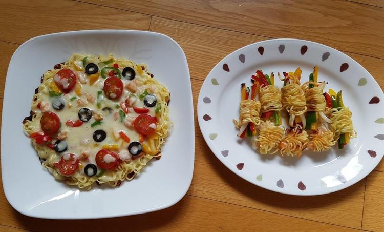 라면 피자 & 라면 채소,새우말이