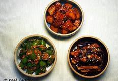 여름반찬 세가지-감자조림,가지무침,오이고추된장무침