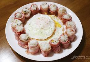 베이컨말이 주먹밥만들기. 소풍도시락으로도 인기만점!!