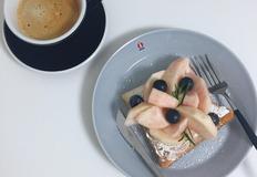 초간단 복숭아 토스트