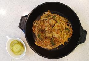 토마토새우파스타, 브로콜리를 함께넣어 영양도 만점 파스타