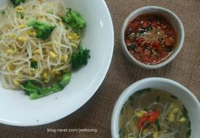 브로컬리콩나물밥과 당근양념간장