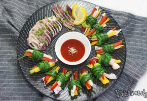 예쁜 오징어요리 오징어 쪽파강회