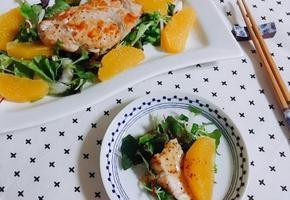 닭가슴살 샐러드(상큼한 오렌지와 샐러드드레싱)