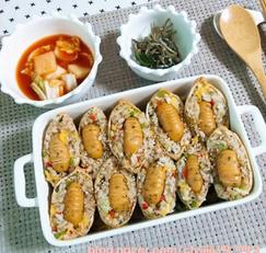 비엔나 소세지가 콕 박혀있는 유부초밥(한끼해결, 도시락메뉴로도 좋아요)