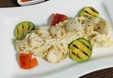 구운 야채를 올린 콩비지 파스타(크림 파스타 대신 저칼로리로 먹기!)