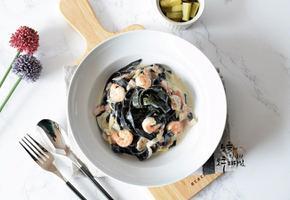 새우 먹물크림스파게티 블랙푸드 한그릇요리 제면기로 만들어요