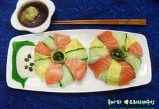 손님 초대요리/연어 스시도넛,연어꽃 초밥,연어 도넛초밥