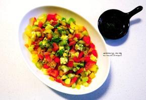아보카도 파프리카 코울슬로 만들기 - 야채 샐러드 다이어트