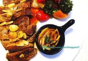 집에서 일식풍 돼지고기 목살 스테이크 요리 / 와사비 소스 만들기(굽기)