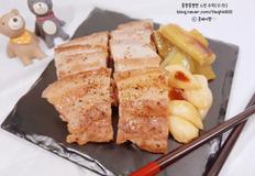 돼지보쌈 구이(삼겹살 요리: 프라이팬요리, 간단한 요리)
