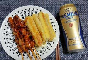 노브랜드 숯불매콤닭꼬치와  쫀득한 치즈스틱(술안주/간식)