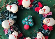 <트리,눈사람,산타할아버지 마카롱대량생산 크리스마스캐릭터 마카롱, 로열아이싱하기>