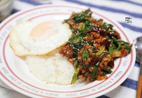 시금치덮밥 만들기. 동남아풍 시금치요리 섬초요리. 간단한 저녁메뉴 한그릇요리
