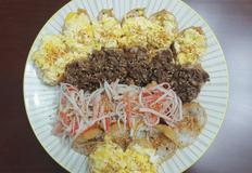 삼색유부초밥(계란스크램블,불고기,오양맛살) 간단하게 뚝딱!