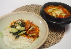 [간편식 요리]bibigo돼지고기 김치찌개 한팩으로 두끼 해결_김치찌개덮밥,김치콩나물국밥
