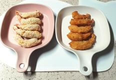 에어프라이기로 튀긴 새우튀김과 일반팬에 튀긴새우 튀김 비교