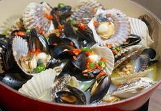 초간단 와인 가리비 홍합찜, Steamd Mussels with Scallops, 와인 버터 홍합찜 만드는 법