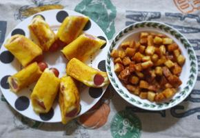 소시지롤업토스트&식빵짜투리로 이용한 식빵팝콘만들기