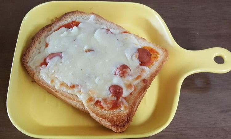아이들 간식으로 만들어준 식빵피자..