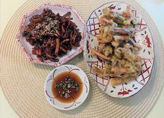 마른 오징어 요리. 마른 오징어 조림과 오징어 튀김