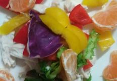 [암예방레시피] 닭가슴살 파프리카 과일 샐러드