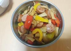 건강한 소세지 반찬 만들기 (파프리카+세송이버섯)
