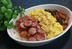 [간편 혼밥] 햄,달걀,김치볶음덮밥
